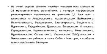 Власти Башкирии отменили дистанционку в школах 21 района и двух городов