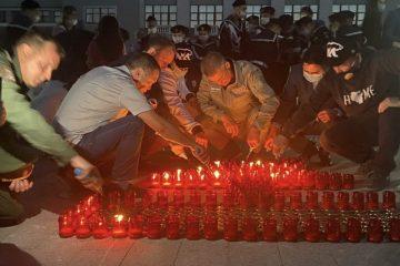 ВУфе наСоветской площади создали портрет Шаймуратова из1418 свечей
